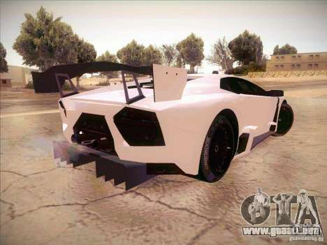 Lamborghini Reventon GT-R para GTA San Andreas vista posterior izquierda