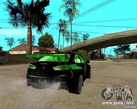 Mitsubishi Lancer Evolution X E&R Prod para GTA San Andreas vista posterior izquierda