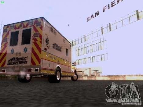 Ford F-350 Ambulance para GTA San Andreas vista posterior izquierda