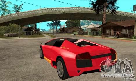 Lamborghini Murcielago LP650 para GTA San Andreas vista posterior izquierda