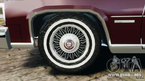 Cadillac Fleetwood Brougham Delegance 1986 para GTA 4 vista desde abajo