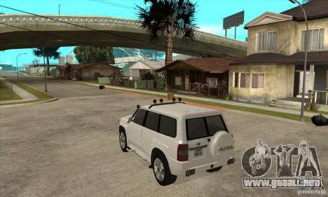 Nissan Patrol 2005 para GTA San Andreas vista posterior izquierda