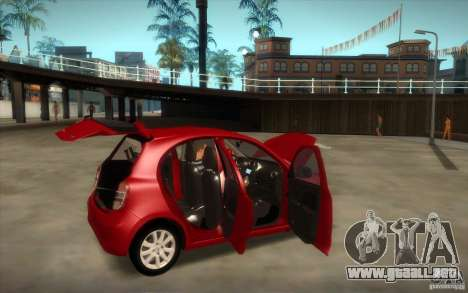 Nissan Micra 2011 para GTA San Andreas vista hacia atrás