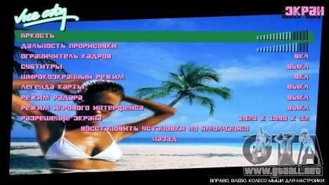 Fondo del menú Spiaggia para GTA Vice City segunda pantalla