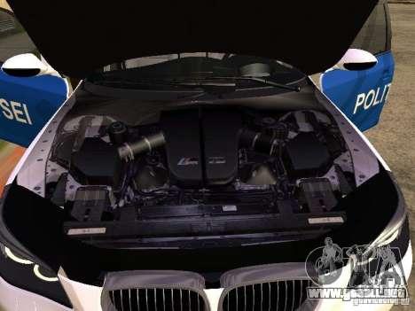 BMW 5-er Police para GTA San Andreas vista hacia atrás
