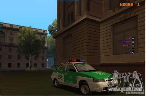 Policía YPX VAZ-2112 para visión interna GTA San Andreas