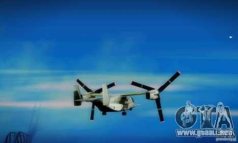 MV-22 Osprey para GTA San Andreas vista hacia atrás