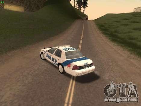 Ford Crown Victoria Vancouver Police para GTA San Andreas vista hacia atrás