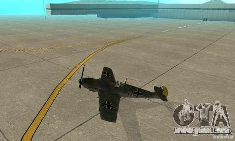 Bf-109 para GTA San Andreas vista posterior izquierda