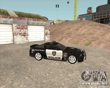 Ford Shelby GT500 2010 Police para la visión correcta GTA San Andreas