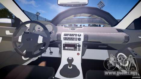 Infiniti G35 v1.0 para GTA 4 vista hacia atrás