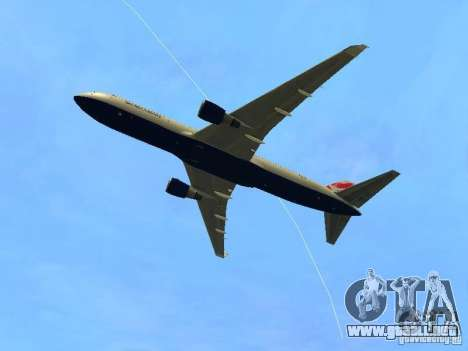 Boeing 767-300 British Airways para GTA San Andreas vista hacia atrás