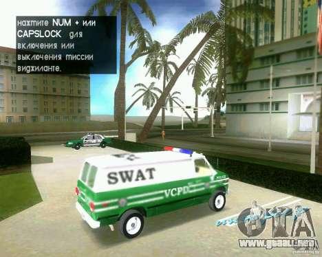 Chevrolet Van G20 para GTA Vice City visión correcta