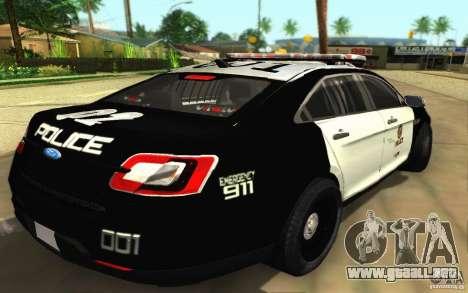 Ford Taurus 2011 LAPD Police para GTA San Andreas vista posterior izquierda