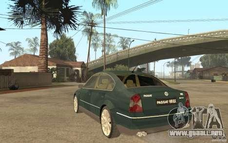 Volkswagen Passat B5+ W8 4Motion para GTA San Andreas vista posterior izquierda