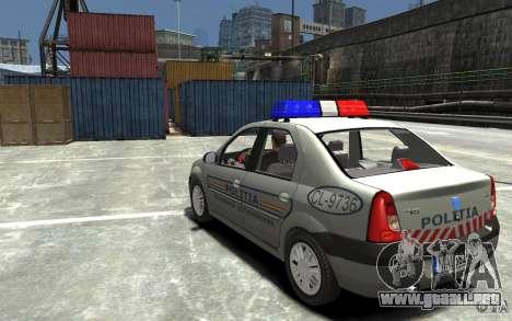 Dacia Logan Prestige Politie para GTA 4 Vista posterior izquierda