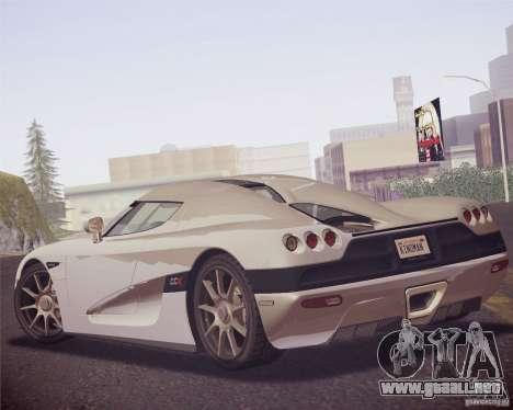 Koenigsegg CCX 2006 v2.0.0 para la visión correcta GTA San Andreas