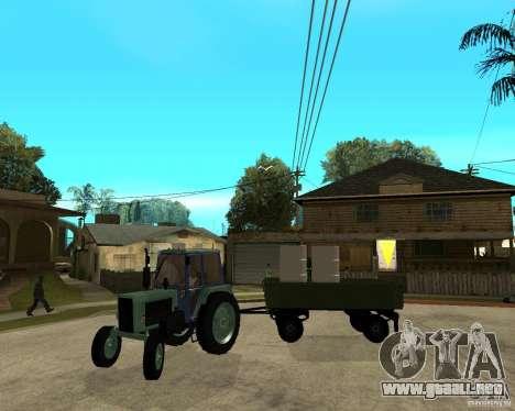 Tractor Belarus 80.1 y remolque para la vista superior GTA San Andreas