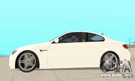 BMW M3 2008 para GTA San Andreas vista hacia atrás