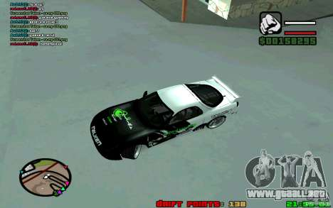 Mazda RX7 Drift para GTA San Andreas left