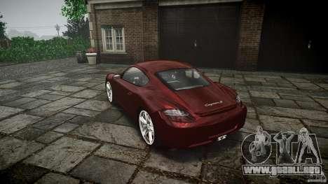 Porsche Cayman S v1 para GTA 4 Vista posterior izquierda