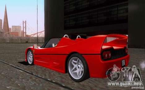 Ferrari F50 v1.0.0 1995 para GTA San Andreas vista posterior izquierda