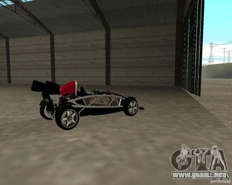 Ariel Atom V8 para GTA San Andreas vista posterior izquierda
