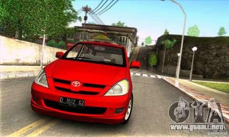Toyota Kijang Innova 2.0 G para GTA San Andreas vista posterior izquierda