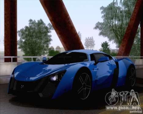 Marussia B2 2010 para GTA San Andreas vista hacia atrás