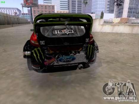 Ken Block Ford Fiesta 2012 para GTA San Andreas vista posterior izquierda