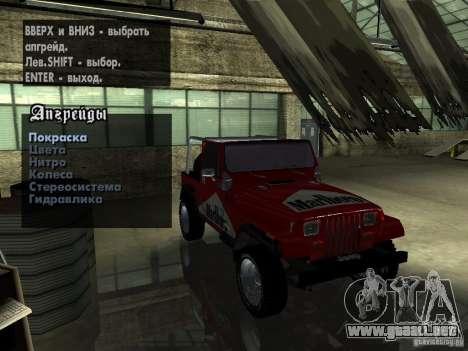 Jeep Wrangler 1986 4.0 Fury v.3.0 para vista lateral GTA San Andreas