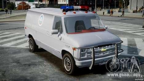 Chevrolet G20 Police Van [ELS] para GTA 4 visión correcta