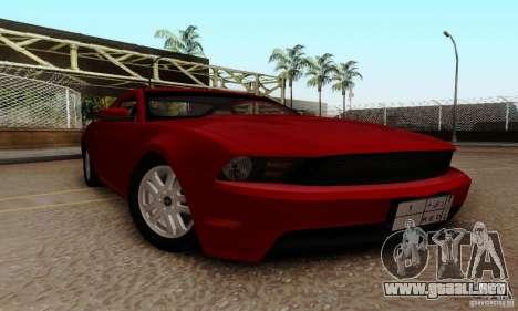Ford Mustang 2010 para GTA San Andreas vista hacia atrás
