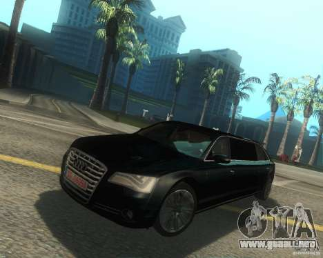 Audi A8 2011 Limo para GTA San Andreas vista posterior izquierda
