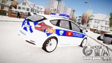 Ford Focus Macedonian Police para GTA 4 Vista posterior izquierda