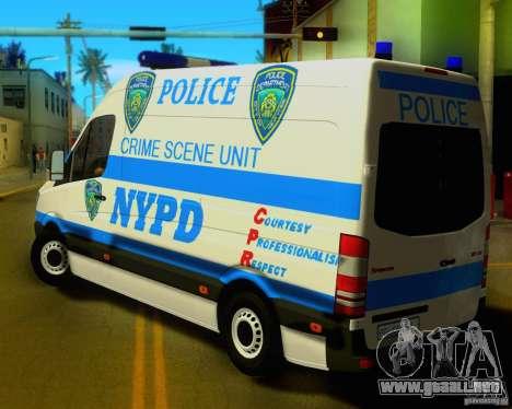 Mercedes Benz Sprinter NYPD police para GTA San Andreas vista posterior izquierda