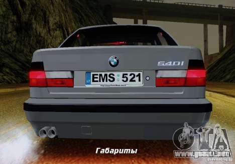 BMW E34 540i Tunable para vista inferior GTA San Andreas