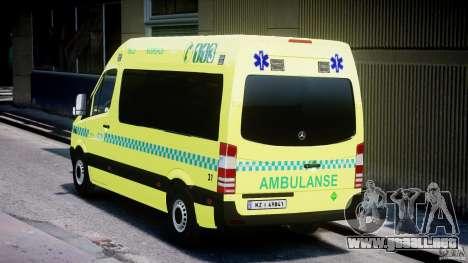Mercedes-Benz Sprinter PK731 Ambulance [ELS] para GTA 4 Vista posterior izquierda