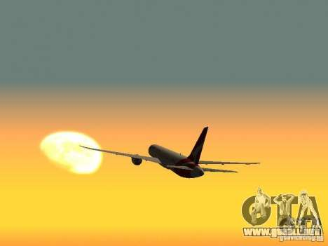 Boeing 787 Dreamliner Qantas para GTA San Andreas vista posterior izquierda