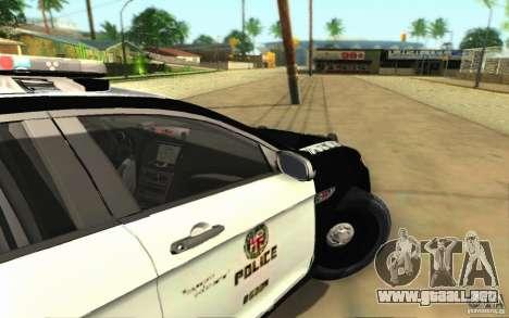 Ford Taurus 2011 LAPD Police para GTA San Andreas vista hacia atrás