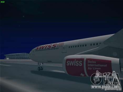 Airbus A340-300 Swiss International Airlines para GTA San Andreas vista hacia atrás