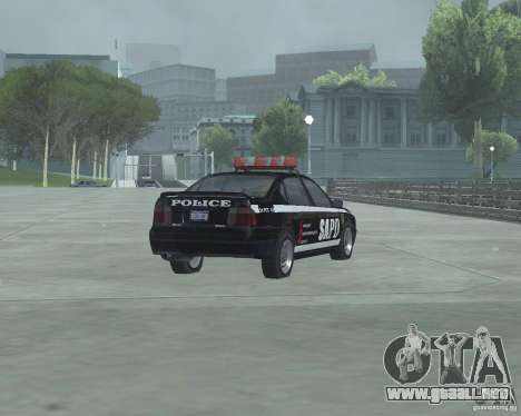 Cop Car Chevrolet para GTA San Andreas vista posterior izquierda