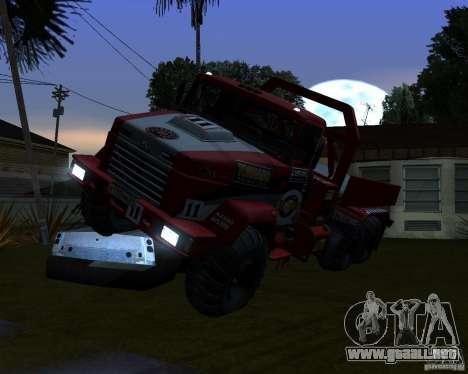 KrAZ-6322 juicio para GTA San Andreas vista hacia atrás