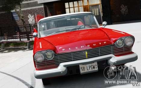 Plymouth Belvedere Sport Sedan 1957 para GTA 4 Vista posterior izquierda
