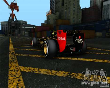 Lotus E20 F1 2012 para GTA San Andreas vista hacia atrás