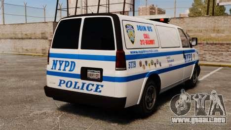 Policía Speedo para GTA 4 Vista posterior izquierda