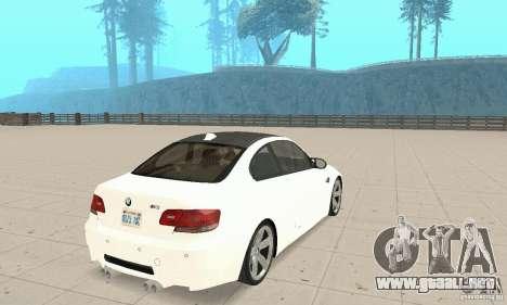 BMW M3 2008 para la visión correcta GTA San Andreas
