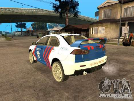 Mitsubishi Lancer X Police Indonesia para GTA San Andreas left