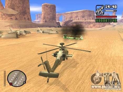 AH-64D Longbow Apache para visión interna GTA San Andreas