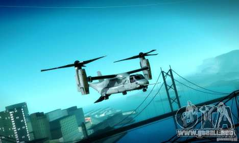 MV-22 Osprey para visión interna GTA San Andreas